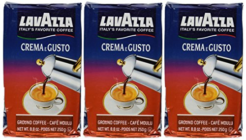 Lavazza Crema e Gusto Ground Coffee, Italian , 8.8-Ounce Bricks (Pack of 3)