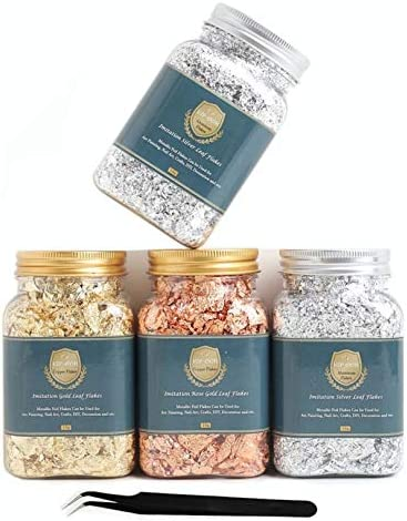 VIP-OOH Gilding Flakes Set -Gold Leaf 4 Bottles Imitation Metallic Foil Gold Silver Copper Flakes for Resin, Painting, Nail Art(40g) (Color : 2Silver+1Gold+1Copper)