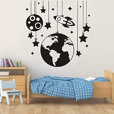 Geiqianjiumai Planet Space Rocket with Stars Spaceship Art Vinilo ...