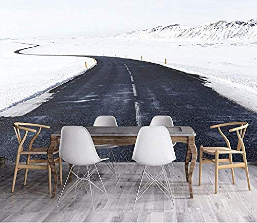 FSLUCKY 3D Ice Scenery Black Road Wallpaper Mural for Cafe Bar Office Restaurant Background 3D Photo Mural Wallpaper Decoration Wall-A