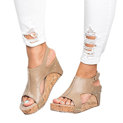 Women S Ankle Velcro Strap Open Toe Wedge Platform Sling Back Beach Casual Heeled Sandal