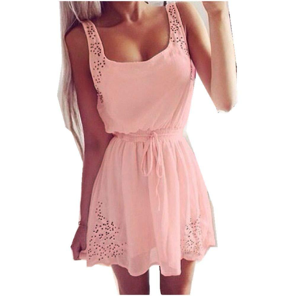 Women Dress Sexy Summer Casual Sleeveless Cocktail Short Mini Dresses Belted Belt Strap Skirt (S, Pink)