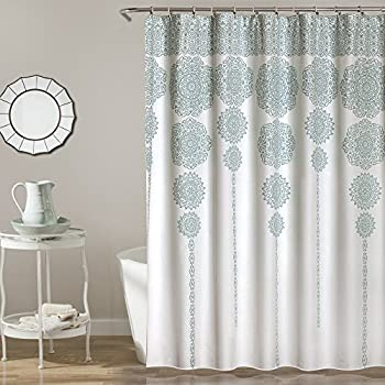 Suzy Blue Fabric Shower Curtain By MStyle 72 Wide X