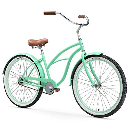 "sixthreezero Women's Single Speed Beach Cruiser Bicycle, Serenity Green w/ Brown Seat/Grips, 26"" Wheels/ 17"" Frame"