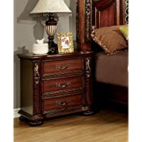 Furniture of America Caldara Traditional Nightstand, Brown Cherry