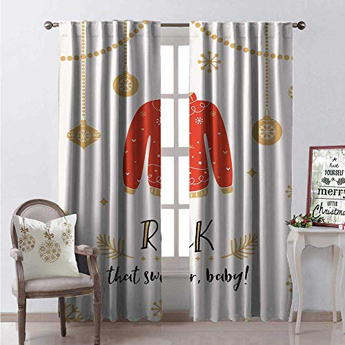 Hengshu Florida Room Darkening Wide Curtains Rock That Sweater Ba Text Noel Themed Print Decor Curtains by W96 x L84 Sand Brown Vermilion Charcoal Grey and Pearl