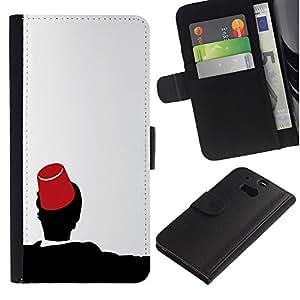LECELL--Cuero de la tarjeta la carpeta del tirón Smartphone Slots Protección Holder For HTC One M8 -- Marruecos Fez Marrakech Sombrero Tarboosh --