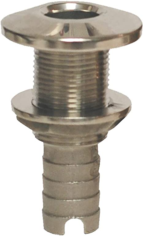 """GROCO Stainless Steel Hose Barb Thru-Hull Fitting 1/"""" HTH-1000-S"""