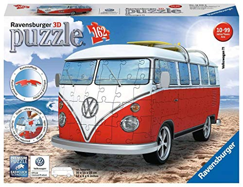 Ravensburger Volkswagen T1 Campervan 162 Piece 3D Jigsaw Puzzle for Kids and Adults - Easy Click Technology Means Pieces