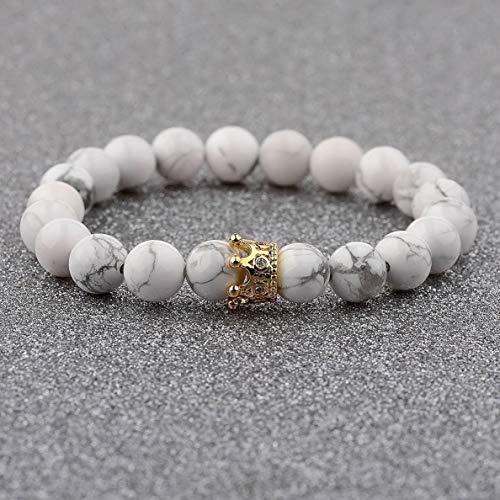 - Werrox 8MM Owl Buddha Beaded Natural Lava Stone Gold Silver Charm Fashion Men Bracelets   Model BRCLT - 3815  