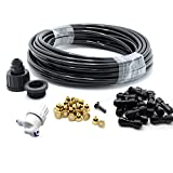 theBlueStone 40FT Outdoor Misting System with filter - 10 feet Supply Line + 30 feet Misting Line + 20 Brass Nozzles - for Patio Fan Garden Greenhouse Reptile Mosquito Prevent
