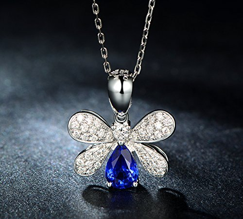 Solid 18k White gold Pendant,0.36ct SI-H Diamond pendant for necklace,1.02ct pear Natural Blue Sapphire,Pave set