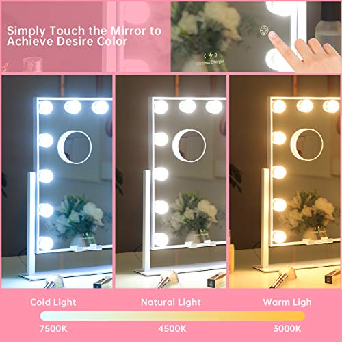 MISAVANITY Hollywood Vanity Makeup Mirror with Lights, Large Vanity Mirror with Wireless Charger and 10X Magnification…