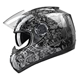 GLX GX15-SS-XL Black Silver X-Large Full Face Motorcycle Helmet