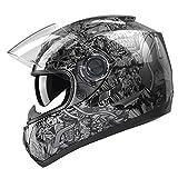 GLX Dual Visor Full Face Motorcycle Street Bike Helmet (Glossy Black/ Large)