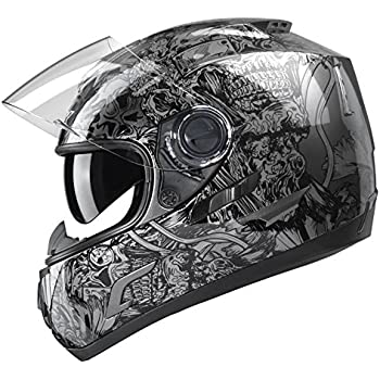 GLX Full Face Motorcycle Helmet Street Bike Dual Visor DOT Approved (Silver, Large)