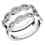 Dazzlingrock Collection 0.55 Carat (ctw) 14K Gold Round White Diamond Ladies Wedding Band Enhancer Double Ring 1/2 CT