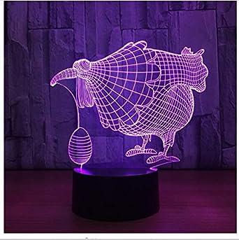 Chickren Con Huevo Lámpara Led 3D 7 Colores Forma de Led Lámpara ...