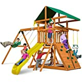 Outing Play and SwingSets with Wave Slide, Two Swings, Rock Climbing Wall, Ring/Trapeze Bar, Sandbox, Covered Play Fort and Climbing Rope, from Gorilla Playsets