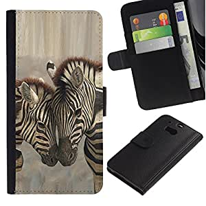 LECELL -- Funda protectora / Cubierta / Piel For HTC One M8 -- Zebra Brothers Love --