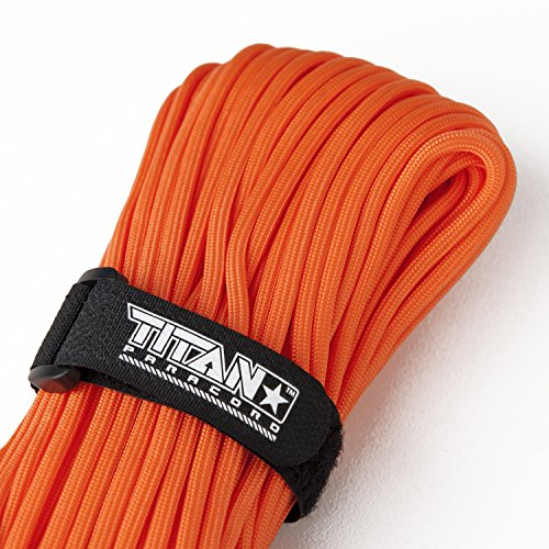 Nylon Parachute Cord (TITAN WarriorCord | SAFETY-ORANGE | 103 CONTINUOUS FEET | Exceeds Authentic MIL-C-5040, Type III 550 Paracord Standards. 7 Strand, 5/32