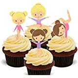 Little Gymnasts, Gymnastics Edible Cupcake Toppers - Stand-up Wafer Cake Decorations by Made4You