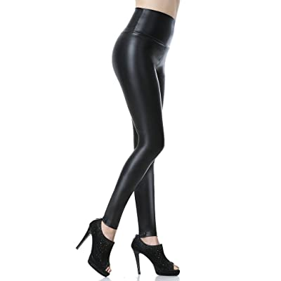 Everbellus Sexy Womens Faux Leather High Waisted Leggings at Women's Clothing store