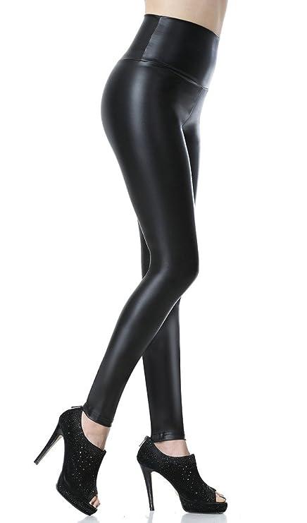 Everbellus Mujeres Pu Leggins cuero Skinny Elásticos pantalones Negro Grande