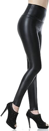 Everbellus Mujeres PU Leggins Cuero Skinny Elásticos Pantalones