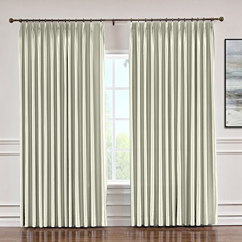 (Macochico Pinch Pleated Faux Silk Curtains with Interlining for Traverse Rod Blackout Silk Draperies Panels for Bedroom Meetingroom Living Room, Ivory 84