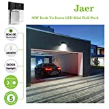 LED Wall Pack Light, 30W 3600lm 5000K (Dusk-to-Dawn Photocell,Waterproof IP65), 100-277Vac,150-250W MH/HPS Replacement, ETL DLC Listed 5-Year Warranty Outdoor Security Lighting