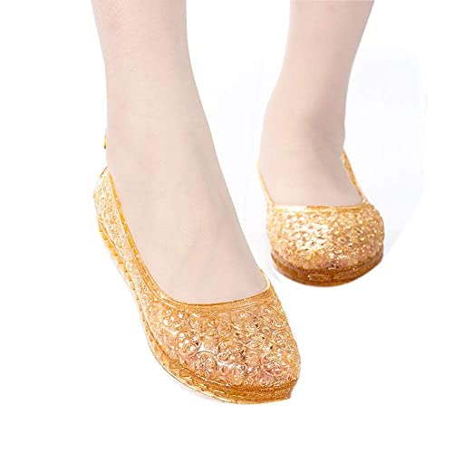 9b4bc6e8be6c heipeiwa Women s Bird Nest Jelly Ballet Flats Slip On Summer Beach Casual Sandals  Golden
