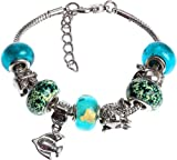 Royal Diamond Aqua Blue Ocean Murano Style Beaded Charm Bracelet