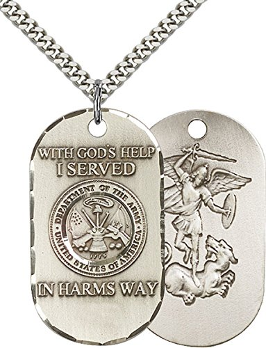 Sterling Silver U.S. Army Dogtag Pendant with Saint Michael Back, 1 1/2 Inch