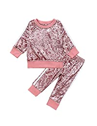 Camidy 1-6Y Girls Velvet Sweatshirt Tops + Pants Fashion Sports Tracksuit Clothes Set
