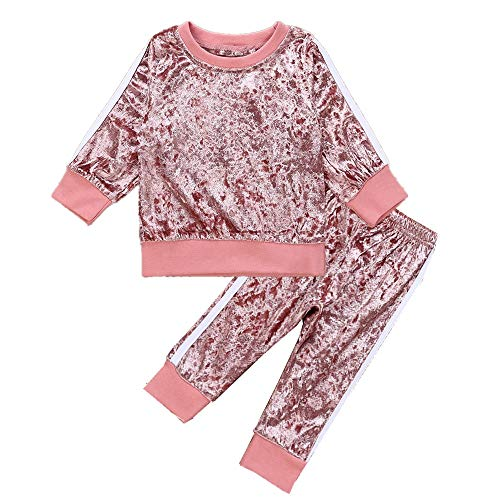 1-6Y Girls Velvet Sweatshirt Tops + Pants Fashion Sports Tracksuit Clothes Set (1-2T, Pink)