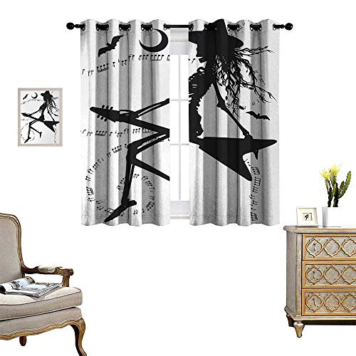 Anyangeight Music Patterned Drape for Glass Door Witch Flying on Electric Guitar Notes Bat Magical Halloween Artistic Illustration Waterproof Window Curtain W63 x L72 Black White -
