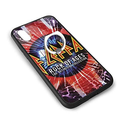 Def Leppard iPhone X Case iPhone Xs Case,Tempered Glass Case with Soft Silicone TPU Frame,360¡ã Adjustable Square Holder for, iPhone X/xs 5.8 ()