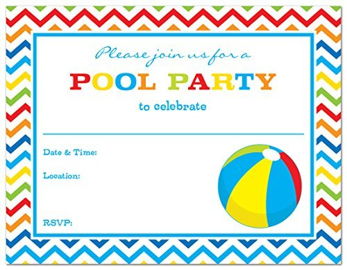 Beach Ball Invitation (24 Pool Party Beach Ball Fill-in Kids Birthday Party Invitations by MyExpression.com)