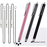 "3pcs Stylus Pen 5.5"" Replaceable Thin-Tip - Universal Capacitive High Precision Styli + Replacement Tips, Elastic Lanyards + Cleaning Cloth (Pink/Matte Black/Gun Grey)"
