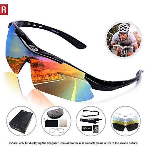 Rocknight Polarized Sports Sunglasses for Men Women with 5 Interchangeable Lenses Cycling Running Fishing Baseball Glasses UV Protection - Sunglasses Sporting