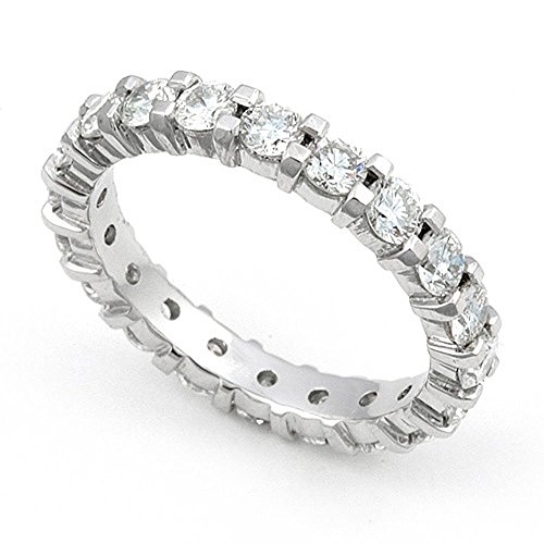 14k White Gold Shared Prong set Diamond Eternity Wedding Band Ring (G-H/VS, 2 ct.), 7.5