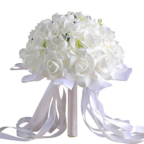 Han Shi Artificial Flowers, Modern Crystal Roses Bridesmaid Wedding Bouquet Joyous (S, White)