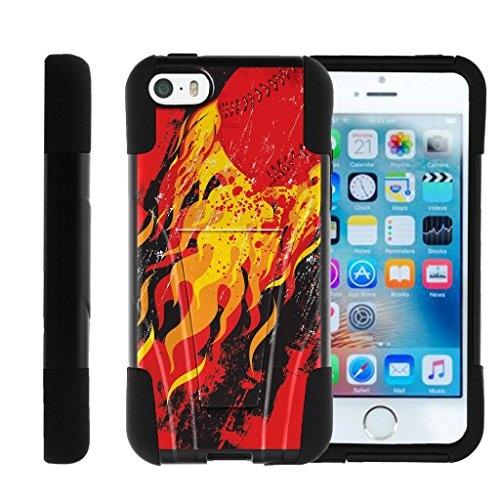 Apple iPhone SE case, iPhone 5 Case , iPhone 5s Cover STRIKE IMPACT Cover Hybrid Gel Hard Kickstand Bumper Case Special Baseball | Miniturtle - Blazing Pitch Blazing Baseball