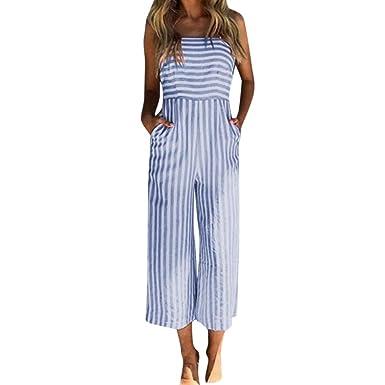 5c07dbc18a3d Amazon.com  RAISINGTOP Women Wide Leg 3 4 Length Pants Ladies Stripe  Printing Sleeveless Long Playsuits Rompers Jumpsuit Tall Sizes  Clothing