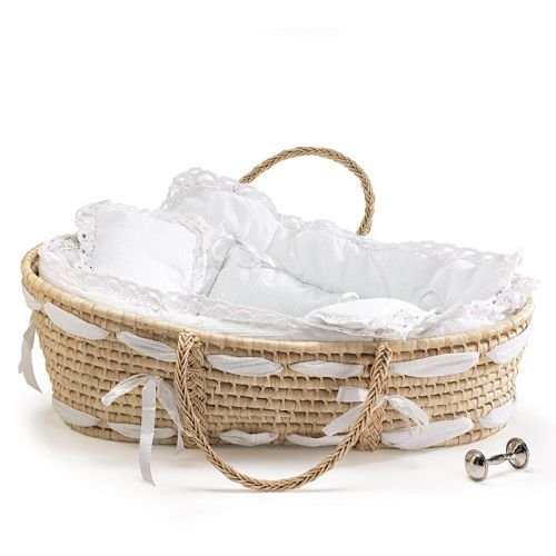Baby Cribs Moses Baskets - Burton and Burton Natural Baby Moses Basket with White Lace Bedding