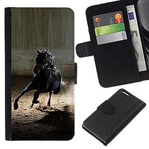 All Phone Most Case / Oferta Especial Cáscara Funda de cuero Monedero Cubierta de proteccion Caso / Wallet Case for Apple Iphone 5C // caballo mustang negro salvaje galope semental