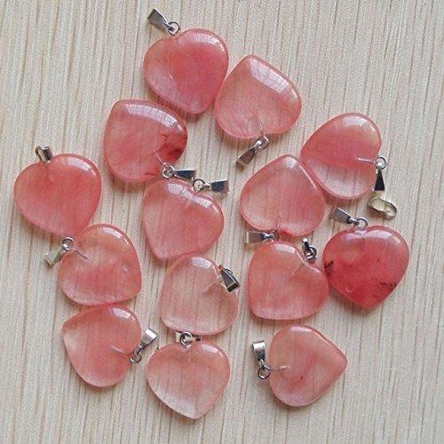 Watermelon Red Stone Love Heart Charms Pendants 50Pcs/Lot - 153 Pendant