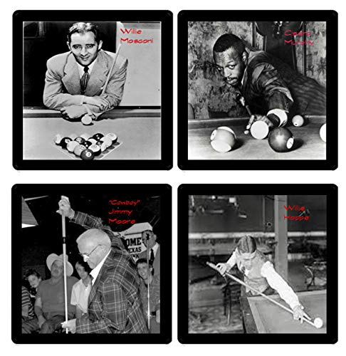 Billiards Pool Legends Collectible Coaster Gift Set - (4) Different Images Reproduced Onto Soft Coasters