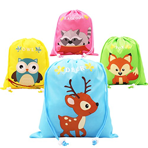 Woodland Animal Party Favors Bags 12 Pack, Cartoon Designed Gift Candy Drawstring Bags, Goodie Bag for Kids Boys and Girls Birthday -